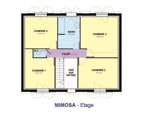 plan maison 4 chambres 騁age mod 232 le et plans mdf mimosa du constructeur maisons d en