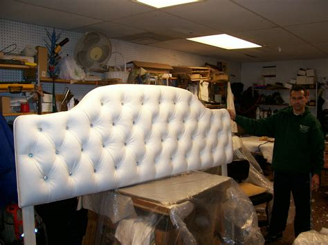 king headboard  rhinestone tufts  upholstery  restoration