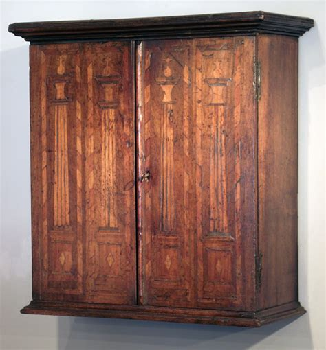 Antique Dutch marquetry spice cupboard, spice cabinet