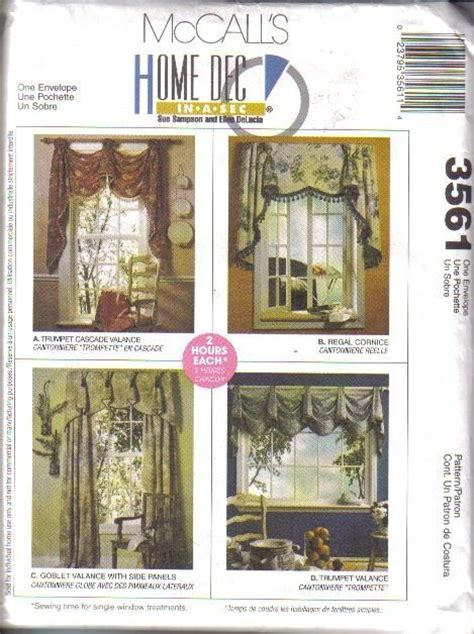 home decor sewing patterns oop mccall s sewing pattern home d 233 cor window treatment