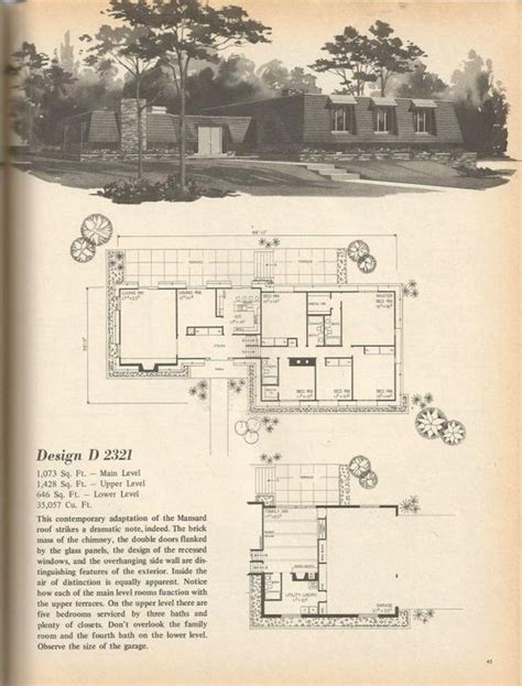 1970s house plans vintage house plans 1970s exaggerated mansard style has a