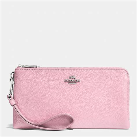 Pebble Opera Wallet By L Erickson by Coach Zip Wallet In Pebble Leather In Pink Lyst
