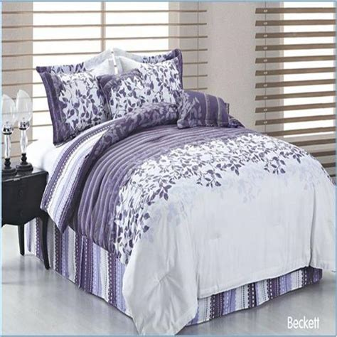 beckett purple lilac white queen 6 piece comforter bed