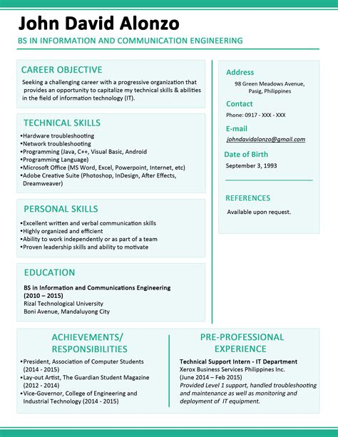 sle resume format for fresh graduates one page format