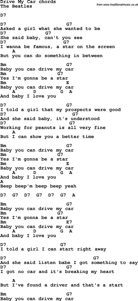 drive my car lyrics drive my car lyrics