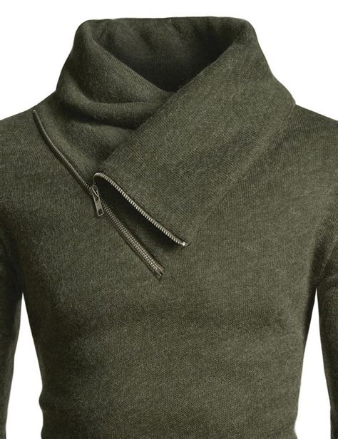 mens knit turtleneck sweater nkkt731 thelees mens slim fleece sweatshirt turtleneck