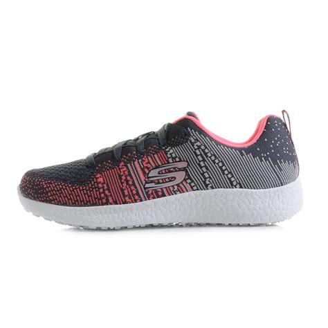 skechers knit shoes womens skechers burst ellipse charcoal pink knit mesh