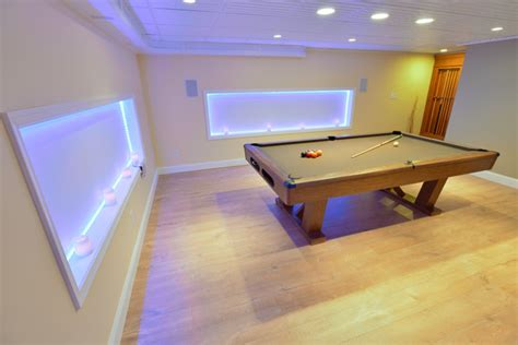 Unfinished Kitchen Wall Cabinets basement remodel led strip lights traditional basement