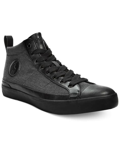polo high top sneakers polo ralph clarke hi top sneakers in black for