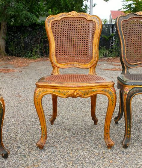 Caned Dining Chairs Set Of Six Venetian Caned Dining Chairs At 1stdibs