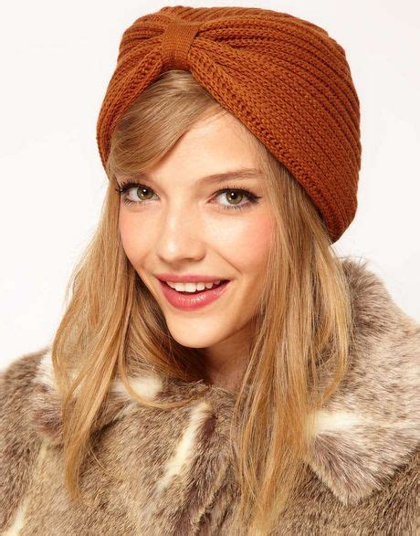 knit turban asos knitted turban hat in brown tobacco lyst