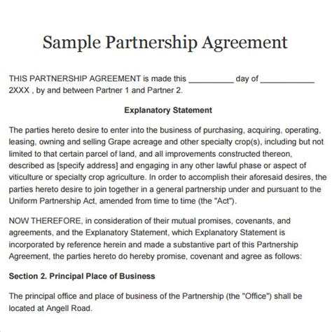 Partnership Agreement 9 Free Pdf Doc Download Free Partnership Agreement Template