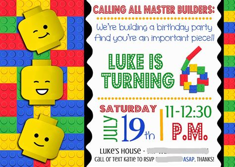 printable lego invitation cards lego party invitation printable google search lego
