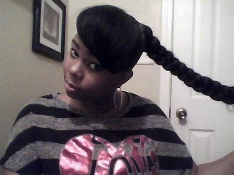 braids with a weave bang jumbo braid bun pony with weave youtube
