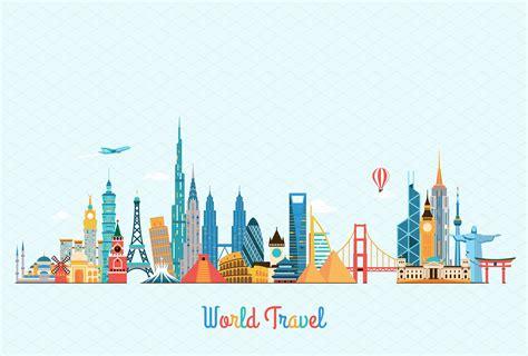World Traveler 10 world landmarks illustrations creative market