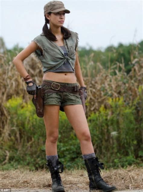Tara Fall Go Boom by The Walking Dead S Alanna Masterson Christian Serratos