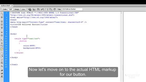 how to create a navigation rollover button in dreamweaver video tutorial creating css rollover button youtube
