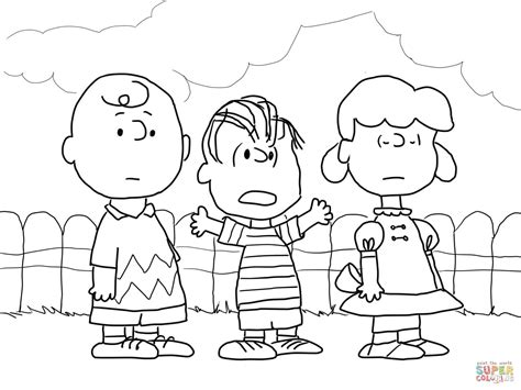 charlie brown lucy and linus coloring page free