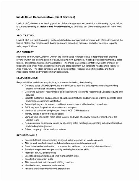 Food Sales Representative Sle Resume by Brilliant Ideas Of Cover Letter Inside Sales Representative Resume Sle Sle On Food Sales