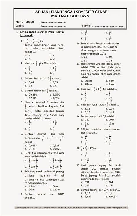 soal uts  matematika kelas  rief awa blog