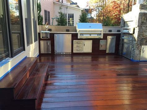 Deck Countertop by Galley Kitchen With Pizza Oven Grill And Refrigerator On