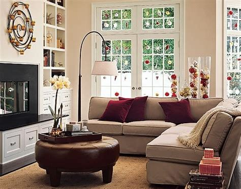 beige sofa burgundy cushions decorating