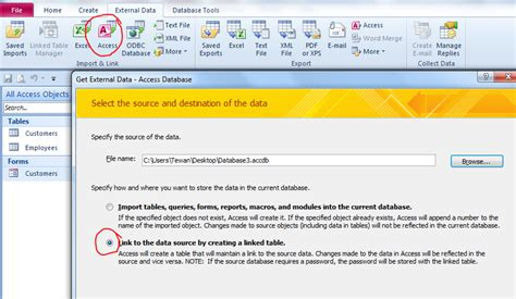 how to link tables in access how to create link table from another ms access file