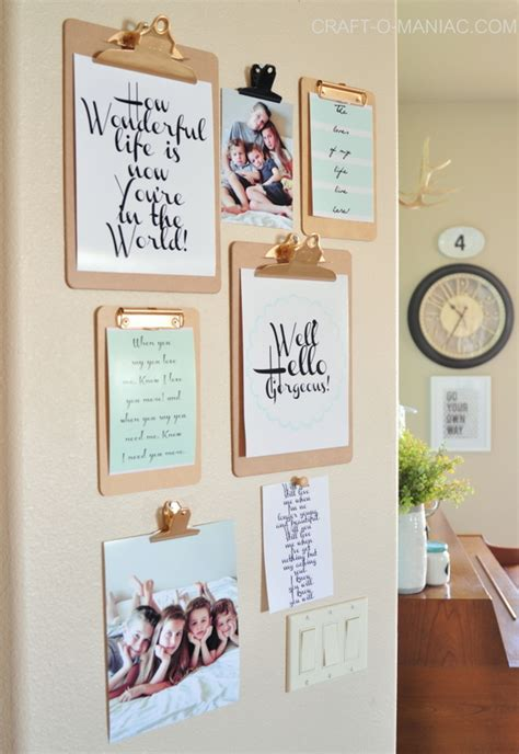 Decorating A Craft Room - clipboard wall art with free printables