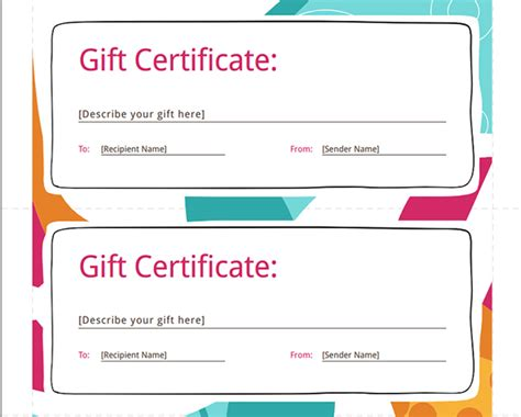 gift certificate template for pages skabelon gavekort word