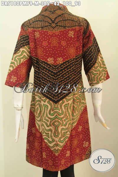 Baju Dari Jawa Tengah baju dress elegan berbahan batik klasik kombinasi tulis dari jawa tengah busana batik berkelas