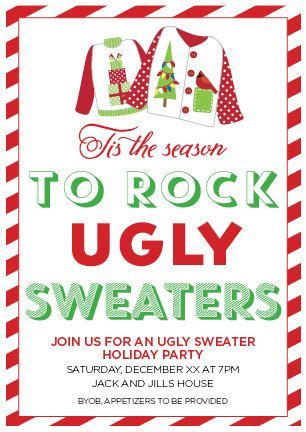 ugly christmas party ideas rewards sweater invitation by allisonrainsdesigns on etsy