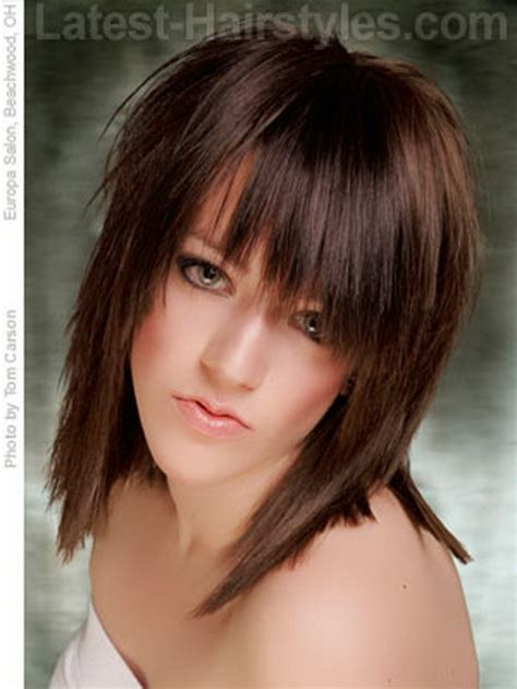 choppy layered with for hair medium choppy hairstyles with bangs