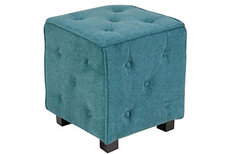 tufted teal ottoman duncan small tufted teal cube ottoman