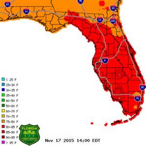 map of florida weather observed temperature map florida forest service fdacs