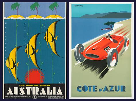 Gc Go Go Travel australia and cote d azur vintage travel posters