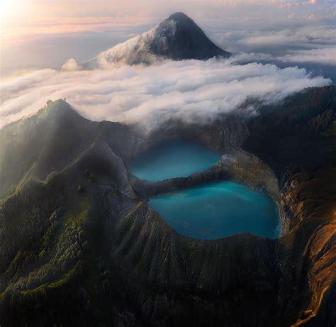 wallpaper crater lake kelimutu national park volcano