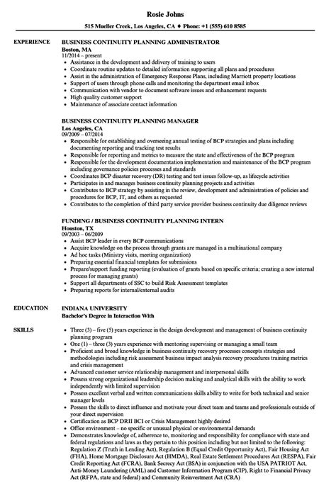 Business Continuity Manager Sle Resume by Business Continuity Planning Resume Sles Velvet