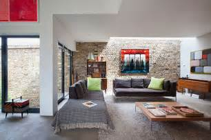 Modern living room in rustic home interior design architecture and