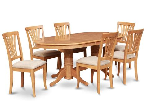 Oval Oak Dining Table And Chairs 7pc Oval Dinette Kitchen Dining Room Set Table With 6 Upholstery Chairs In Oak Ebay