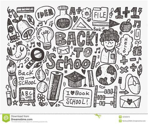 doodle school doodle back to school background stock vector image