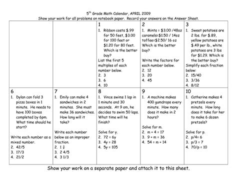 5th Grade Math Worksheets With Answers by Integrated Math Worksheets Pearson Education 5th Grade