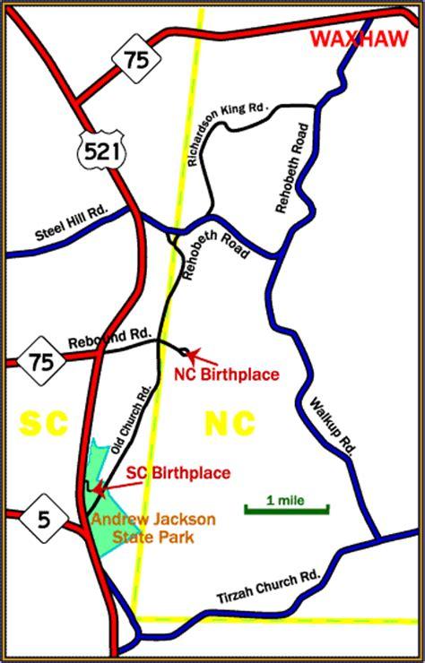andrew jackson birthplaces map