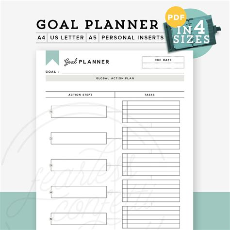 goal planner template printable goal planner printable goal tracker goal planner