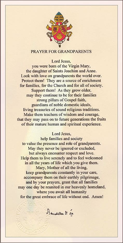 Wedding Quotes Paul Ii by Pope S Prayer Catholic Grandparents Association