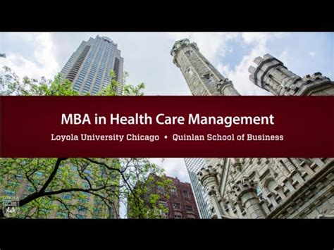 Mba In Healthcare by Mba In Health Care Management Loyola S Quinlan School Of