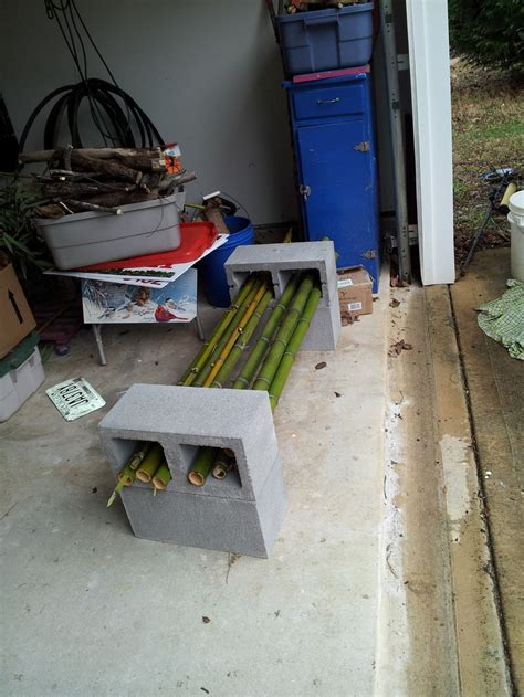 concrete block benches bamboo and cinder block bench 4 be outside pinterest
