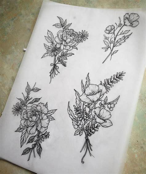 bouquet tattoo dotwork photo tattoos tattoos flower