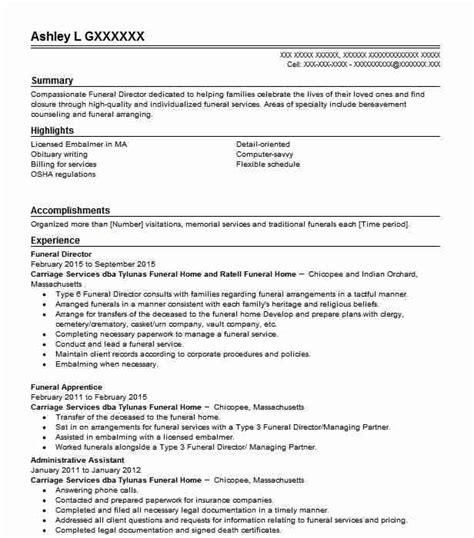 Funeral Home Director Sle Resume by Funeral Services Resume Exles Sles Livecareer