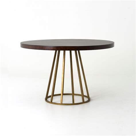 west elm round west elm addison round dining with dark wood top and