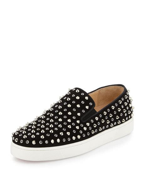 Spikes On Black christian louboutin roller flat skate shoe with spikes